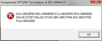 An example of the OPTLINK exception.